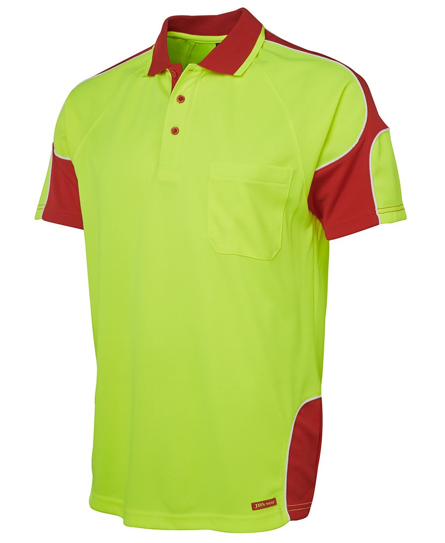 Hi vis s s arm panel polo for Hi vis polo shirts with pocket